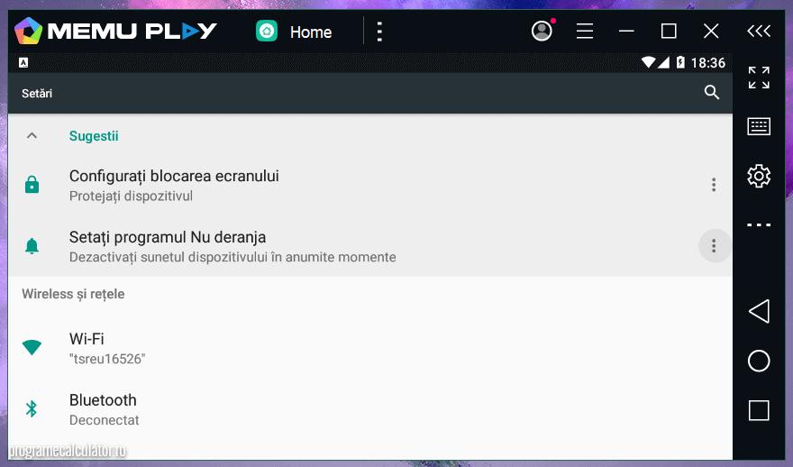 MEmu - Android virtual în modul peisaj
