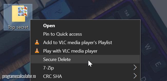 Opțiune în meniul contextual pentru SDelete